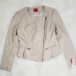 ELLE Faux Leather Peplum Jacket